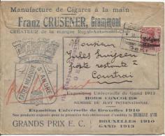 TP Oc 3 S/Lettre Commerciale Manufacture De Cigares F.Crusener Grammont C.Etappen Gent V.Courtrai PR775 - Guerra 14 – 18