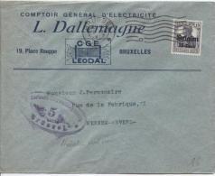 TP Oc 16 S/Lettre Commerciale L.Dallemagne C.méc.BXL En 1917 Censure Brüssel +vignette V.Merxem PR777 - [OC26/37] Staging Zone