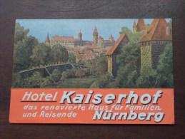 Hotel KAISERHOF Nürnberg ( Etiket ) ( Zie Details Foto ) ! - Cartes De Visite