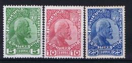Liechtenstein: 1912 Mi Nr 1 - 3 MH/* - Liechtenstein