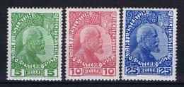 Liechtenstein: 1912 Mi Nr 1 - 3 MH/* - Unused Stamps