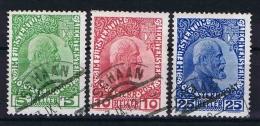 Liechtenstein: 1912 Mi Nr 1 - 3 Used Some Paper Traces On Back - Gebruikt