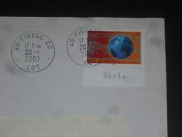FIGEAC CC - LOT - CACHET ROND MANUEL SUR YT 3532 - MONDE RESEAU ENTREPRISES - - Marcophilie (Lettres)