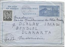 Aérogramme + TP 924 Baudouin Lunettes C.Vilvoorde En 1956 V.Djakarta Indonsésie PR791 - Stamped Stationery