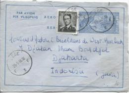 Aérogramme + TP 924 Baudouin Lunettes C.Liège En 1956 V.Djakarta Indonsésie PR792 - Stamped Stationery