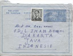 Aérogramme + TP 924 Baudouin Lunettes C.Woluwe En 1956 V.Djakarta Indonsésie PR793 - Aerogrammes