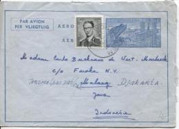 Aérogramme + TP 924 Baudouin Lunettes C.Wommelgem En 1956 V.Djakarta Indonsésie PR794 - Aerogrammes