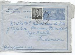 Aérogramme + TP 924 Baudouin Lunettes C.Ixelles En 1956 V.Djakarta Indonsésie PR795 - Stamped Stationery