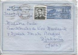 Aérogramme + TP 924 Baudouin Lunettes C.Bruxelles En 1956 V.Djakarta Indonsésie PR796 - Stamped Stationery