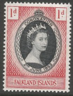 Falkland Islands. 1953 QEII Coronation. 1d MH. SG186 - Falkland Islands