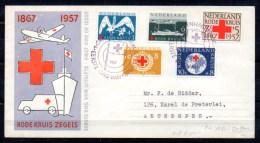 NL 1957, 90 Ans De La Croix-Rouge, 673 / 677 FDC  Sur Lettre  De Gravenhage - Antwerpen - FDC