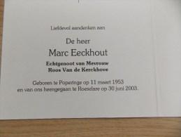 Doodsprentje Marc Eeckhout Poperinge 11/3/1953 Roeselare 30/6/2003 ( Roos Van De Kerckhove ) - Religione & Esoterismo