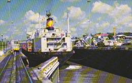 Panama Canal Cargo Ship In Miraflores Locks