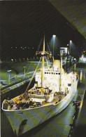 Panama Canal Cargo Ship At Night