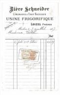 FACTURE 1917 BIERE SCHNEIDER USINE FRIGORIFIQUE LOIZEL FRERES MOULINS ALLIER 03 LIMONADES ET EAUX GAZEUSES - Alimentare