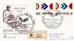Fdc Capitolium N.153: VOLO ROMA - TOKYO (1970); Raccomandata; AS_Thiene - 6. 1946-.. Republic