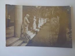 CPA PHOTO GRECE JARDIN DES MUSES CORFOU STATUES EN 1917 - Greece