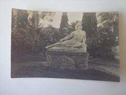 CPA PHOTO GRECE JARDIN DES MUSES CORFOU STATUES  ACHILLE MOURANT EN 1917 - Greece