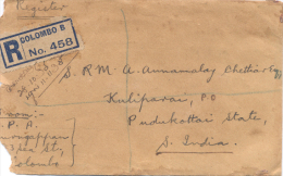 Ceylon, Cover Registered Letter From Colombo  To  India   1935  (  2 X Scan) - Sri Lanka (Ceylon) (1948-...)
