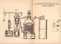 Original Patent - M. Boulton In Tew / Oxford , 1884 , Steam Engine , E. Perrett In Westminster !!! - Tools