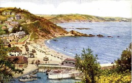 SALMON ART CARD - CARRUTHERS - 4253 - BEACH & CLIFFS FROM HANNAFORE, LOOE - England