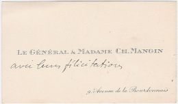 Carte De Visite Du Général & Madame Ch. MANGIN - 9, Avenue De La Bourdonnais (Paris) - Cartes De Visite