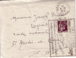 BOUCHES DU RHONE - ISTRES LE 20-8-1937 - 65c TYPE PAIX - GARND CACHET CMMEMORATION COURSE AERIENNE INTERNATIONALE ISTRES - Luchtpost