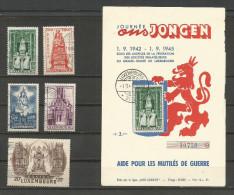 1945 - Yvert n� 367 � 371  - oblit�r�s (o) + 1 carte num�rot�e