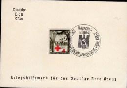 CARTON IMPRIME 1940 - OBLIT.TEMPORAIRE POUR LA CROIX ROUGE ALLEMANDE - TIMBRE GENERAL GOUVERNEMENT DE POLOGNE (VARSOVIE) - Allemagne