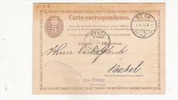 Zumstein 2009: N°  4(communicazioni) Obl: Bern 07/01/1874  Pour Basel - Enteros Postales