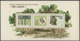 Sri Lanka 1981 MNH MS Forest Conservation And Tree Planting, Trees, Deer, Environment, Miniature Sheet - Sri Lanka (Ceylon) (1948-...)