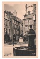 CP, 23, AUBUSSON, La Place Du Monument Et L'Horloge, Vierge - Aubusson