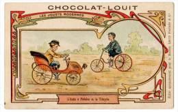 Chromo Chocolat Louit, Les Jouets Modernes, L'auto à Pédale Et Le Tricycle - Louit