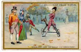 Chromo Chocolat Félix Potin, Première Idée Du Cycle (la Draisienne) - Chocolat