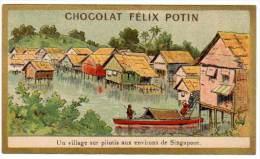 Chromo Chocolat Félix Potin, Un Village Sur Pilotis Aux Environs De Singapoor (Singapour) - Chocolat