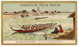 Chromo Chocolat Félix Potin, En Cochinchine, Course De Pirogue à Mytho - Chocolat