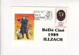 CARTE Bédéciné ILLZACH Histoire Sans Fin HERMANN Timbre Declaration Droit Homme Flamme 89 - Marcophilie (Lettres)