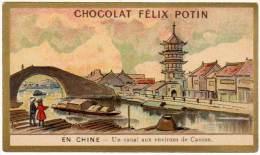 Chromo Chocolat Félix Potin, En Chine, Un Canal Aux Environs De Canton - Chocolat