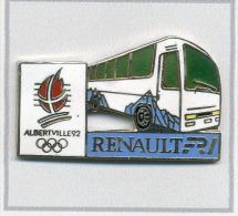 Pin´s  Automobile  Bus  Blanc  Renault  FR 1 Sans  Vive  Le  Sport  Sur  Le  Flanc, J.O  ALBERTVILLE  92 - Renault