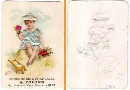 Chromo Cordonnerie Française A. Colomb, Nimes, Enfant, Fleurs, Brouette (gaufrée, Ajoutis)(état) - Andere