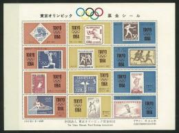 GIAPPONE - JAPAN -1964 Olympic Games - Tokyo, - 5 VALORI  MINISHEET + FOGLIETTO  OLIMPIADI OLTRE 4 OMAGGI VEDI  FOTO - Blocchi & Foglietti