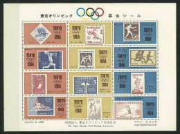 GIAPPONE - JAPAN -1964 Olympic Games - Tokyo, - 5 VALORI  MINISHEET + FOGLIETTO  OLIMPIADI OLTRE 4 OMAGGI VEDI  FOTO - Blocks & Kleinbögen