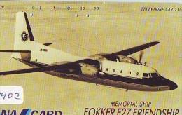 Télécarte Japon * AVION * FOKKER F27 FRIENDSHIP  (1902)  Japan Phonecard * AIRPLANE * AIRLINES * AVIATION * TK FLUGZEUG - Airplanes