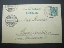 1896, Bahnpost BÜTZOW - ROSTOCK, Zug 4 , Klarer Stempel Auf Karte - Brieven En Documenten