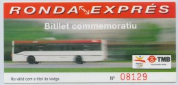 BILLETE CONMEMORATIVO DE  NUEVA LINEA POR LAS RONDAS DE BARCELONA  // (1) - Bus