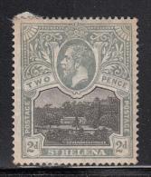 St. Helena MH Scott #64 2p ´Government House´, Gray & Black - Album Adherence, Gum Bend - Sainte-Hélène