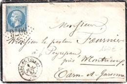 Cachet MILITAIRE Type 15 RADE DE TOULON Var 1 Juillet 1867 , RARE ET TTB+++++ - Marcophilie (Lettres)