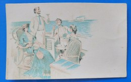 Litho Image Art Nouveau Illustrateur MOULLOT Couple ELEGANT MONDAIN Dandy Monocle CHAMPAGNE Sur Yacht Bateau Paquebot - Autres Illustrateurs