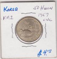 KOREA SOUTH KM2  50 HWAN 1959 UNC NICE HIGH GRADE COIN - Corée Du Sud