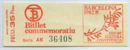 BILLETE CONMEMORATIVO DE LOS TRANVIAS DE BARCELONA // 1982 // (1) - Tranvías